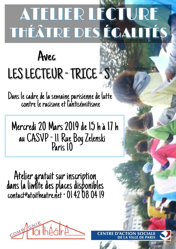 Les lecteur-trice-s - ATELIER LECTURE - THETARE DES EGALITES - 20 mars 2019